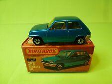 MATCHBOX 21 SUPERFAST RENAULT 5 TL 5TL - BLUE- NEAR MINT IN BOX