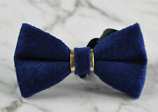 Unisex Men Fashion Navy Blue Embossed Velvet SOLID Bow Tie Bowtie Wedding Ball