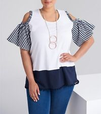 Plus Sizes Short Sleeve White & Navy Blue Cold Shoulder Cotton Tunic/Top Size 16