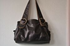 GINGER MICHELLE Black Glazed Buttery Leather Shoulder Tote Satchel Slouch Purse