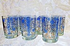 Vintage Set of Six Blue and Gold Floral Crackle Design Highball-Juice Glasses