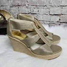 36d802de17b Michael Kors Women s Damita Wedge Heels Size 10M Front Zip Metallic Gold