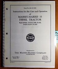Massey Harris 33 Diesel Tractor Equipped with PSB Fuel Injection Pump Manual '54