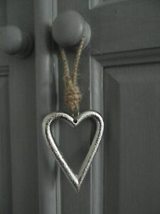 Silver Hanging Metal Heart Shabby Chic