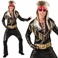 Mens Rock Star Costume 80s Glam Rocker Music Fancy Dress Outfit New