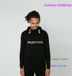 Mens Fleece Organic Cotton Hoodie Sweatshirt Hooded Casual Adult Top Encourage