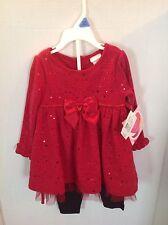 Youngland Girls 24 Mo Red Dress/Black Leggings Nwt