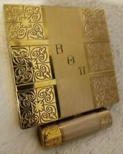 Vtg Gold colored 1948 Dorothy Gray Powder & Rouge Compact w Lipstick Holder