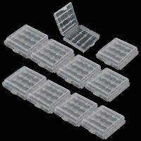 10X Hard Plastic Case Holder Storage Clear Box For Rechargeable AA AAA Battery