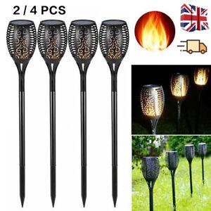 2/4 Pack 12 LED TORCH SOLAR LIGHT PATIO GARDEN DANCING FLICKERING FLAME LAMP UK