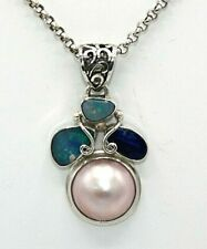 Opal  Anhänger  Mabe Perle & Opale 925 Sterling Silber