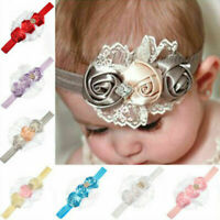 Rose Flower Cloth Elastic Hairband Headband Baby Girls Party Hair Accessory