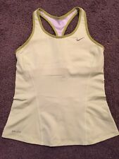 NIKE DRI FIT Women Green Activewear Sport Top With Attached Bra Sz Small S 56323