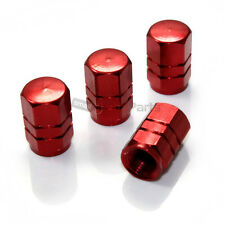 (4) Red Aluminum Tire/Wheel Air Pressure Valve Stem CAPS for Auto-Car-Truck-Bike