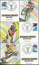 """#3321-24 """"EXTREME SPORTS"""" (4) DIFF HAND PAINTED FDC CACHETS BY COLLINS BP7754"""