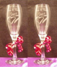 Personal Wedding Toasting Glasses,Flutes, Double Hearts