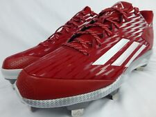 adidas PowerAlley 3 Metal Baseball Cleats Red White Silver (S84760) Size 12