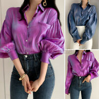UK Women Loose Button Down Look Shirt Satin Office Top Blouse Plus Size 8-24
