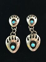 Vintage Sterling Silver Earrings Turquoise Bear Paw Shadow Box Dangle Southwest