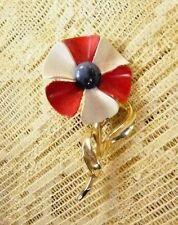 VINTAGE DAISY FLOWER RED WHITE BLUE ENAMEL OVER GOLD TONE PIN