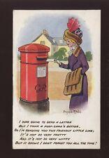 ROYAL MAIL Pillar Post Box glamour lady Artist Donald McGill 1912 PPC creased