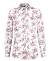 Womens Semi-Fitted Pink Floral Cluster Shirt Long Sleeve Work Blouse Size UK 8