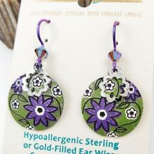 Adajio Earrings Puple and Green Retro Floral Disc with Shiny Silver Circle 7835