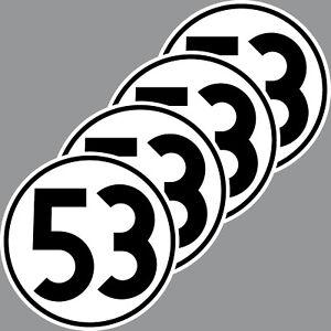 4 Aufkleber 10cm Herbie Nr 53 Start Nummer Ziffer Zahl Racing Auto Motor Sport