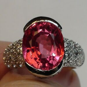 BEAUTIFUL! ESTATE PADPARADSCHA SAPPHIRE, ZIRCON RING 925 S-RING SILVER.SIZE 7.0