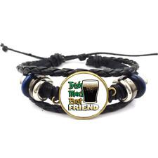 Irish Mans Best Friend Glass Cabochon Bracelet Braided Leather Strap Bracelets