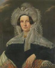 Continental School 19th Century Portrait of a Woman with Lace, Feather... Lot 18