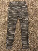 Womens Nike Dri Fit Gray Striped Athletic Leggings (sm) 645798-065