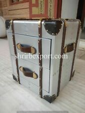 Vintage Bedside trunk chest aluminium aviator home bar hotel furniture storage