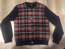 100% AUTHENTIC BURBERRY LONDON CHECK LAMBSWOOL CARDIGAN SWEATER FREE SHIP!