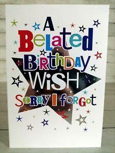 A Belated Birthday Wish, Sorry I Forgot Card, Silver Stars