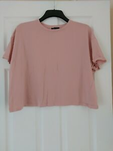 Ladies New Look Cropped T-Shirt Pink Short Sleeves Size 18 Plus Size