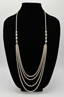 Statement Long Multi Chain Necklace Silver Tone Beaded Strands Chic Vintage BinA