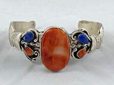 Great Lester James Navajo Native American Sterling Coral & Lapis Cuff Bracelet