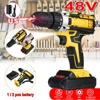 48V 1450RPM Electric Drill Cordless 28N.m LED Light Screwdriver Battery Charger
