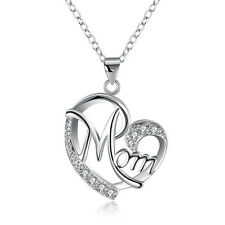 925 Silver Love Heart Mom Pendant & Chain Necklace Crystal Mum Mother's Day Gift