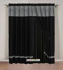 4-Pc Twig Flower Floral Bloom Curtain Set Dark Gray Black Valance Drape Liner