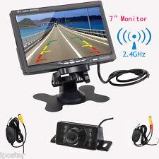 """7"""" TFT LCD Monitor+Car Wireless Rear View Back Up Camera Kit IR LED Night Vision"""