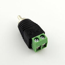 Phono RCA Male Plug TO AV Screw Terminal Connector for CCTV Camera Video Balun