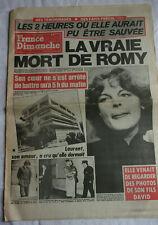 ROMY SCHNEIDER -  journal FRANCE DIMANCHE de 1982