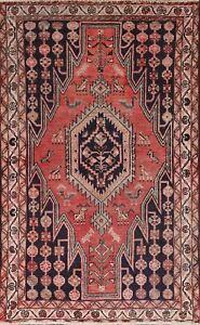 Tribal Semi Antique Hamedan Traditional Area Rug Geometric Oriental Handmade 4x6