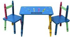 Table and Chairs Set Wooden Crayons Kids Nursery Playroom Furniture Playroom