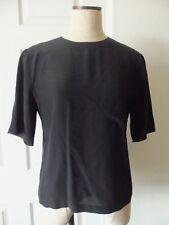 Vintage Ralph Lauren Classics Black Silk Round Neck Short Sleeve Pocket Blouse 8