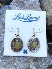 LUCKY BRAND Brass-Tone Cat's Eye Drop Earrings Gold Stone JLRY2590 NWT