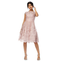 Chi Chi London Embroidered Floral Trim Occasion Scalloped Dress 10 14 16 22 Pink