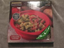 Green Collapsible Durable Silicone Colander Heat Resistant Easy Storage NEW!